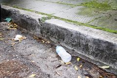 Litter on the street as a result of human negligence royalty free stock photography