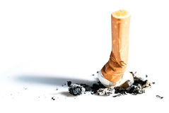 Cigarette butts expressed V1. Cigarette butts pressed out isolated on white Stock Photography