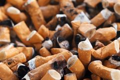 Cigarette butts. Image of smoking, cigarette butts collection Stock Images