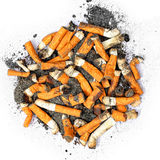Cigarette butts. Isolated on the white background royalty free stock photos