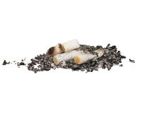 Cigarette butts isolated Royalty Free Stock Photography