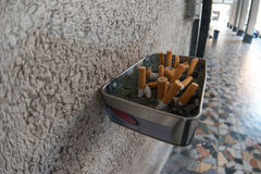 Cigarette butts outdoors Stock Photo