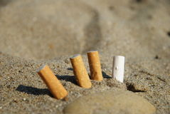Cigarette butts in the sand Stock Photography
