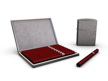 Cigarette-case And Lighter Royalty Free Stock Images