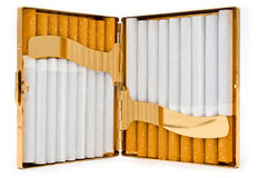 Cigarette-case is complete cigarettes Stock Photo