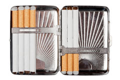 Cigarette case wit some cigarettes Stock Photo