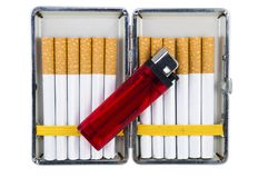 Free Cigarette Case With Lighter Stock Image - 31033731