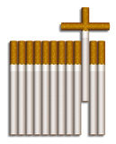 Cigarette cross. Illustration of cigarettes composed to a grave Royalty Free Stock Photography