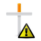 Cigarette cross and yellow sign. illustration Royalty Free Stock Images