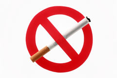 Cigarette crossed out by an interdiction sign. On a white background Stock Images