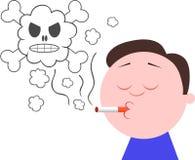 Cigarette de tabagisme avec de la fumée de crâne Images libres de droits