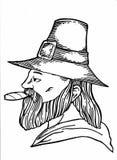 Cigarette de tabagisme d'homme tirée par la main Image stock