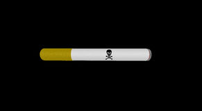 Cigarette with death sign on black Stock Photos