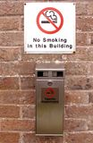 Cigarette disposal point. With a no smoking sign Royalty Free Stock Images