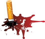 Cigarette  on drop of blood Stock Photography