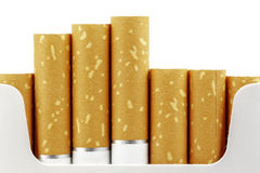Cigarette filters put forward from the pack Royalty Free Stock Image