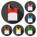 Cigarette flat icons set Stock Photos