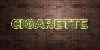 CIGARETTE - fluorescent Neon tube Sign on brickwork - Front view - 3D rendered royalty free stock picture. Can be used for online banner ads and direct mailers Stock Photos