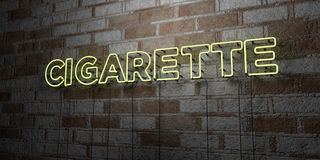 CIGARETTE - Glowing Neon Sign on stonework wall - 3D rendered royalty free stock illustration. Can be used for online banner ads and direct mailers Stock Photo
