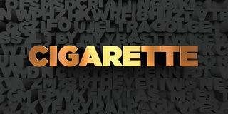 Cigarette - Gold text on black background - 3D rendered royalty free stock picture. This image can be used for an online website banner ad or a print postcard Royalty Free Stock Images