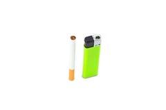 Cigarette and green lighter on white Stock Image