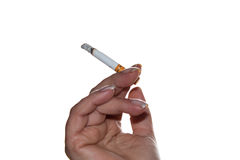 Cigarette in hand isolated Stock Image
