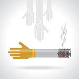 Cigarette with hands creative idea Stock Image