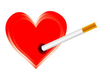 Cigarette harms the heart Stock Photo