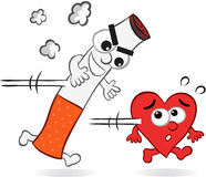 Cigarette and Heart Cartoon Stock Images