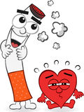 Cigarette and Heart Cartoon Stock Photo