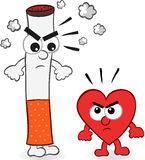 Cigarette and Heart Cartoon Royalty Free Stock Photos