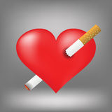 cigarette and heart Stock Photos