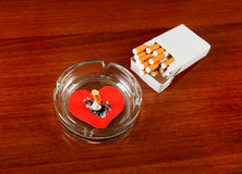 Cigarette with the Heart Shape Stock Photo