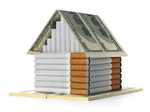 The cigarette house and souvenir dollars Royalty Free Stock Images