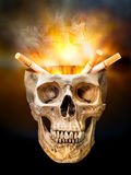 Cigarette in human skull Stock Photos