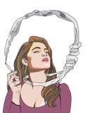 Cigarette Kills You, woman smoking, illustration Stock Photography