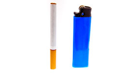 Cigarette and lighter. A cigarette and a cheap lighter. Health hazard Stock Image