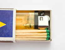 Cigarette lighter and matches Stock Photography