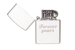 Cigarette lighter with message. Forever yours Royalty Free Stock Image
