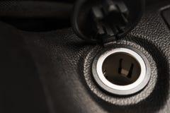 Cigarette Lighter Socket. Car Cigarette Lighter Socket Closeup Photo. Twelve Volts Electric Vehicle Outlet Stock Photos