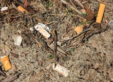 Cigarette litter. Dirt and cigarette litter Stock Photos