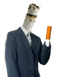 Cigarette man. A cigarette with human face dressed in suit; Metaphor of man addicted to smoking isolated on white background stock illustration