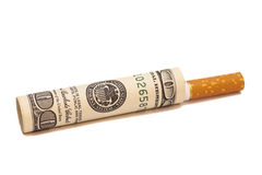 Cigarette and money stock image