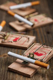 Cigarette in mousetrap Stock Photography