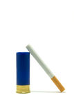 Cigarette are noxious. Cigarette and blue cartridge isolated on white Stock Images
