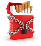 Cigarette Pack and chain (clipping path included) Stock Image