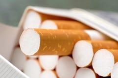 Cigarette pack. Closeup of open cigarette box Stock Images