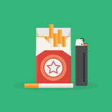 Cigarette pack and lighter Stock Photos