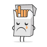 Cigarette pack weeps and sad Royalty Free Stock Image