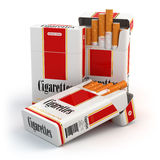 Cigarette pack on white  background Stock Images